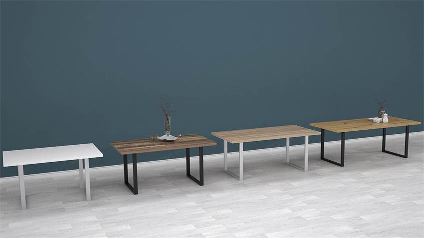 Esstisch TABLES Tischsystem U42 weiß matt und Chrom 140x90