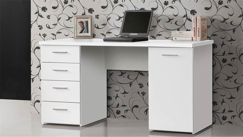 Schreibtisch MT926 mit Schubkästen in weiß matt 145x60 cm