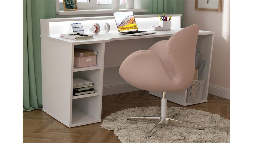Computertisch 1 TEZAUR PC-Tisch weiß Dekor inkl. LED