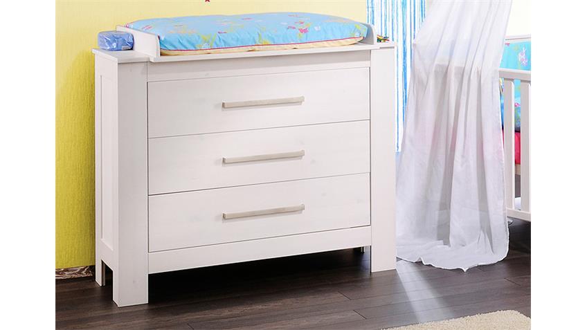 Babyzimmer EMMA Schrank Bett Wickelkommode in massiv weiß
