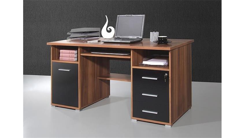 Schreibtisch 0484 schwarz Walnuss abschließbar Germania