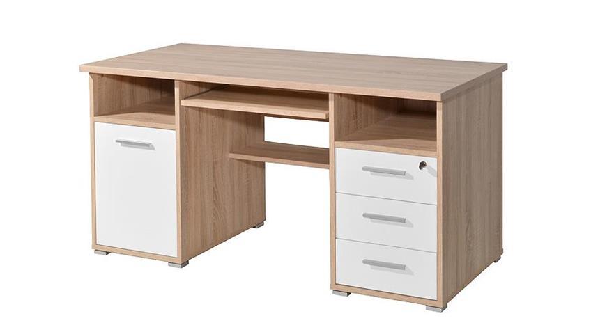 Schreibtisch 0484 weiß Sonoma Eiche abschließbar Germania