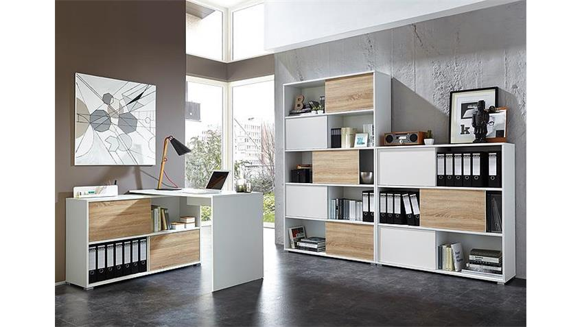 Büro Set SLIDE weiß und Sonoma Eiche 3 teilig Germania