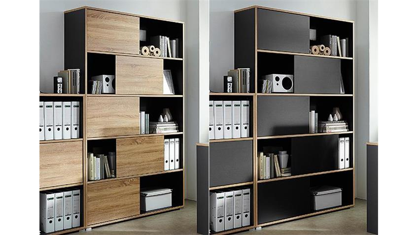 Regal 1 SHINE Büroschrank anthrazit Sonoma Eiche Germania