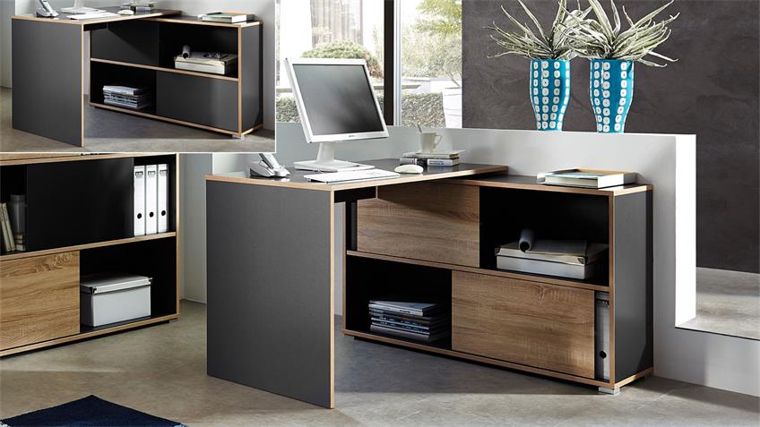 Schreibtisch SHINE Bürotisch anthrazit Sonoma Eiche Germania