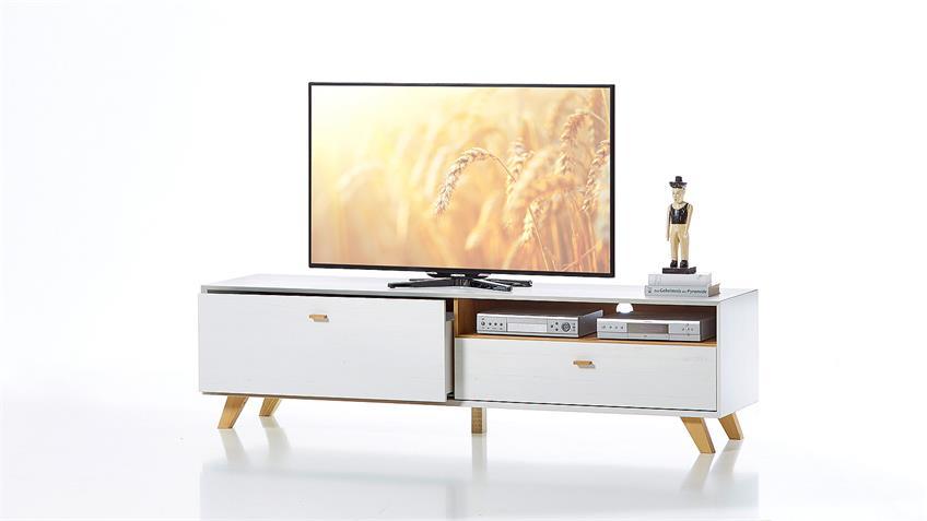 Lowboard CALVI TV-Board in Pinie weiß und Navarra Eiche von Germania