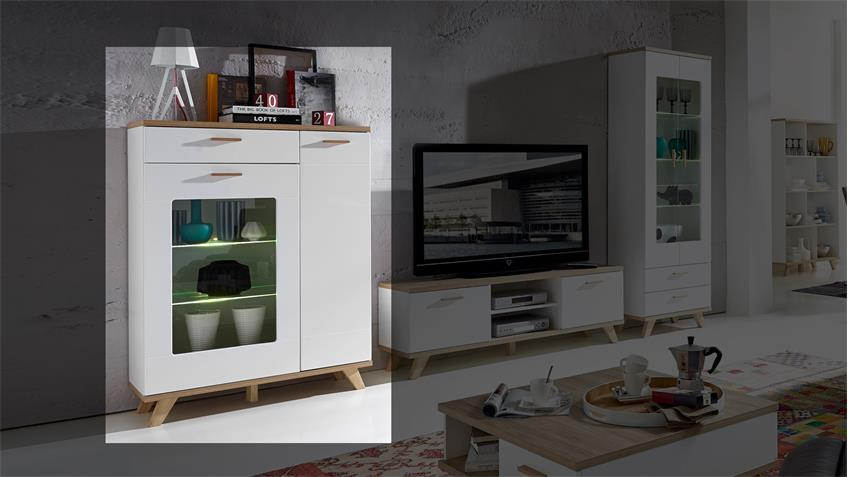 vitrine oslo vitrine in wei matt und sanremo eiche von germania. Black Bedroom Furniture Sets. Home Design Ideas