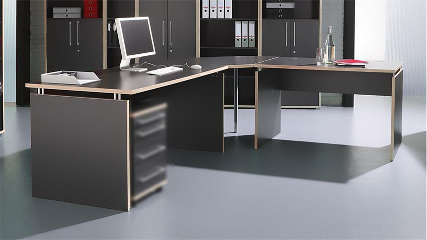 eck schreibtisch duo 1 b rotisch tisch anthrazit rosales von germania. Black Bedroom Furniture Sets. Home Design Ideas