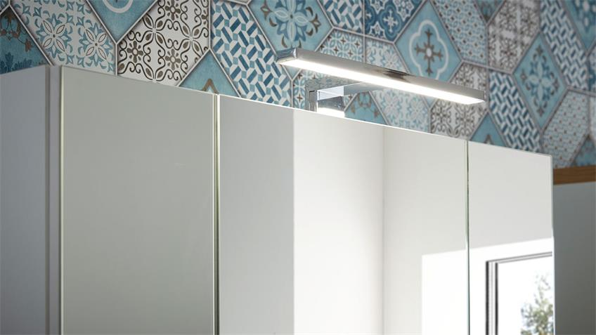 Badezimmer Set 1 Pescara Bad weiß Glas Navarra Eiche LED