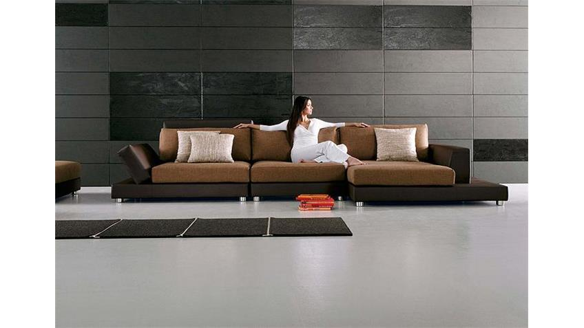Ecksofa PROMO Sofa in braun Lederlook wellenunterfedert