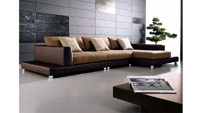 Sofa PROMO in braun Lederlook mit Wellenunterfederung