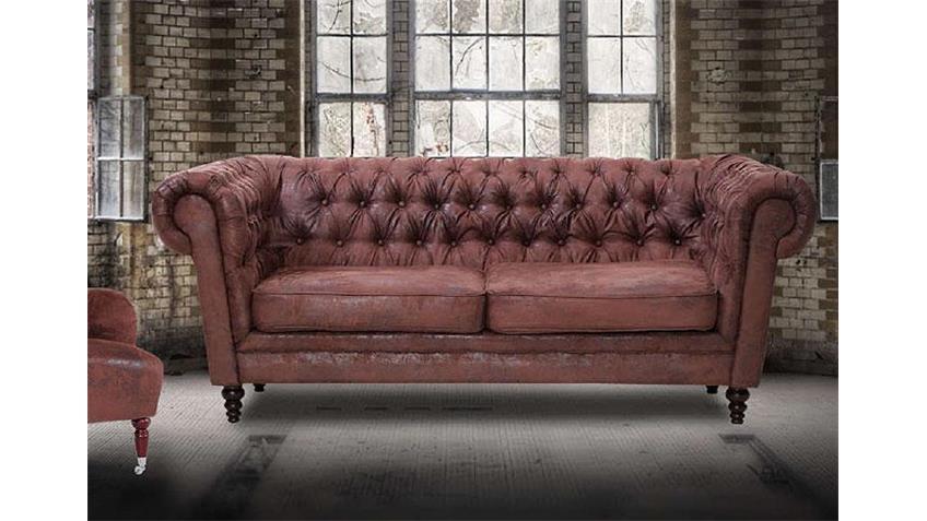 Sofa GOBLIN 2er Sofa in antik braun massiv 203 cm breit
