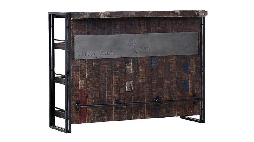 Bar-Regal TITAN Metall antikfarben lackiert und Mango massiv