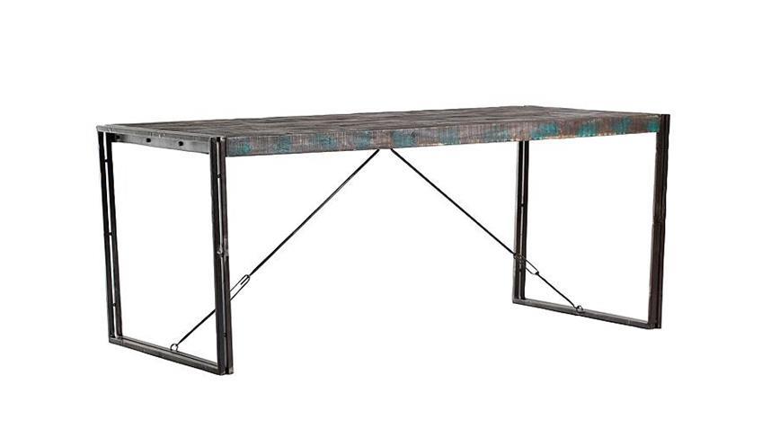 Esstisch TITAN Metall antikfarben lackiert Mangoholz 160x90