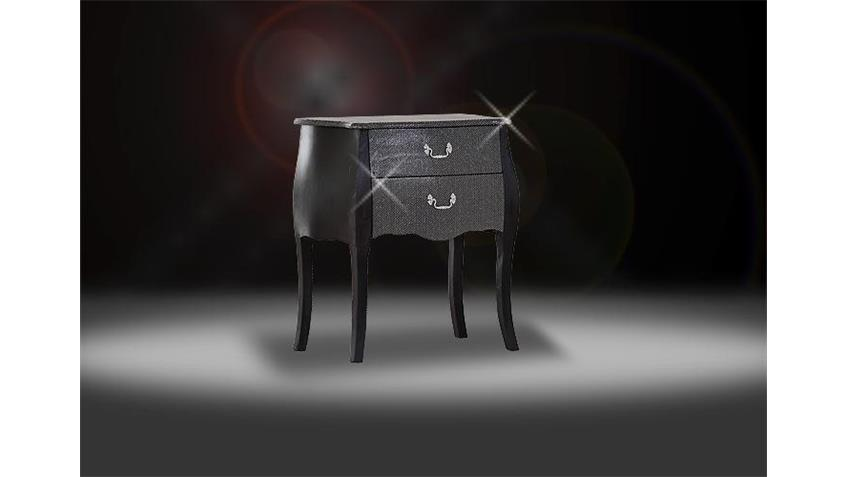 Kommode GLAMOUR Beistellkommode in schwarz Glitzer massiv