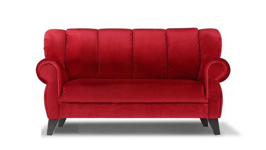 Speisesofa DINNER 2-Sitzer Bezug rot Füße antik 170 cm