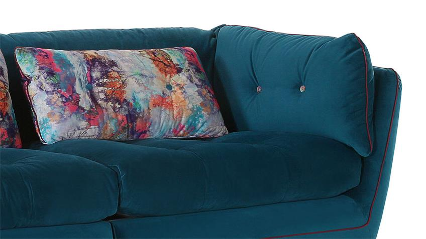 Megasofa SANTA FEE Bezug blau Keder rot Kissen bunt 240 cm