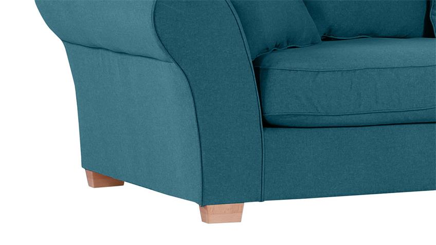 Megasofa LUNEGO Bezug blau Füße natur inkl. Kissen 274 cm