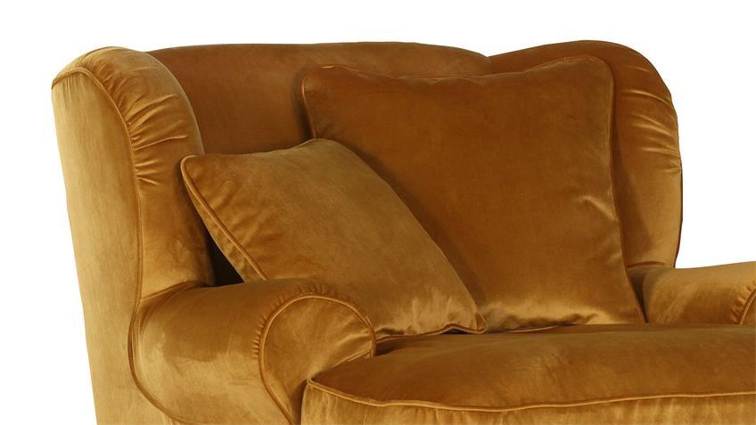 Megaohrensessel LUNEGO Bezug gold Füße natur inkl. Kissen
