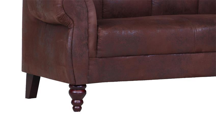 Speisesofa DINNER 2-Sitzer Bezug braun Füße antik 170 cm