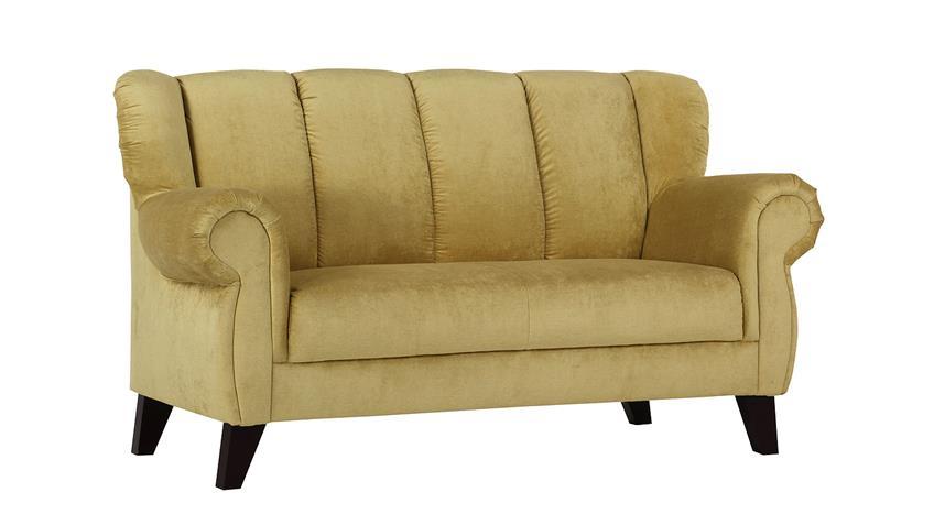 Speisesofa DINNER 2-Sitzer beige gelb Füße antik 170 cm