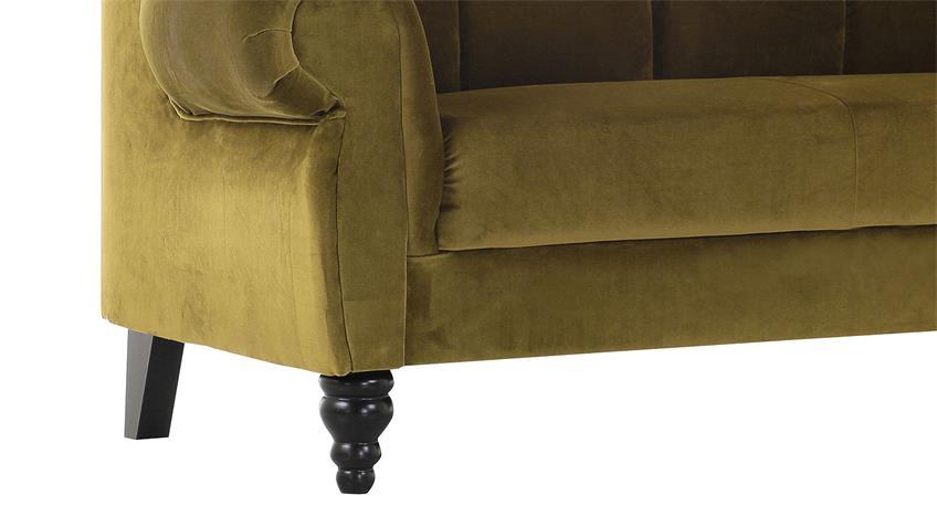 Speisesofa DINNER 2-Sitzer grün gelb Füße antik 170 cm