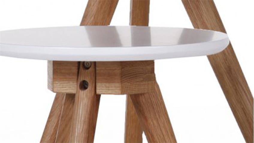 Tischset 3 Beistelltische Retro Eiche massiv Platte weiß lackiert