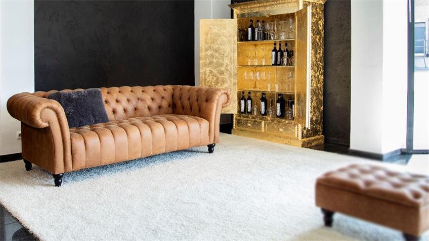 Megasofa AMAZONAS Chesterfield Sofa echt Leder cognac