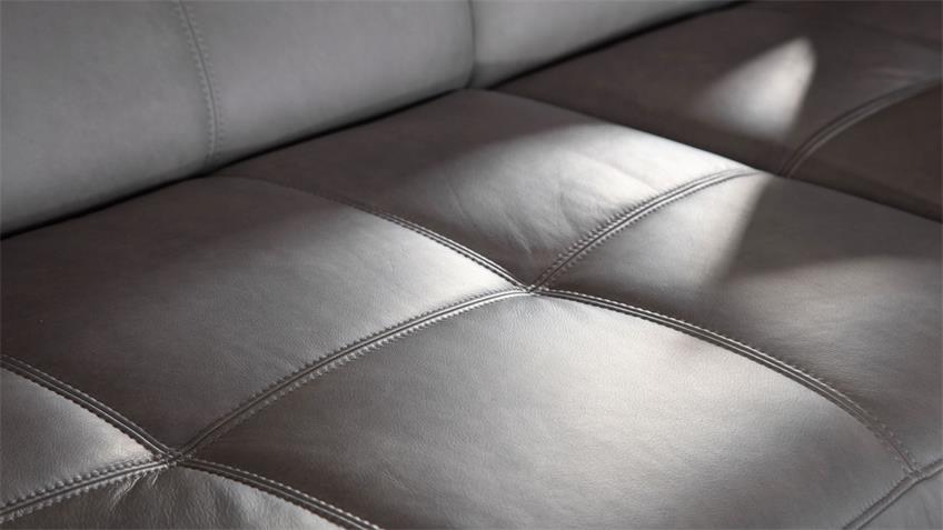 Ecksofa BOMBAY Wohnlandschaft Sofa in grau echtes Leder