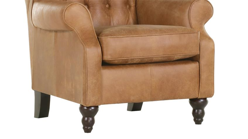Sessel AMAZONAS Chesterfield Sofa in echt Leder cognac