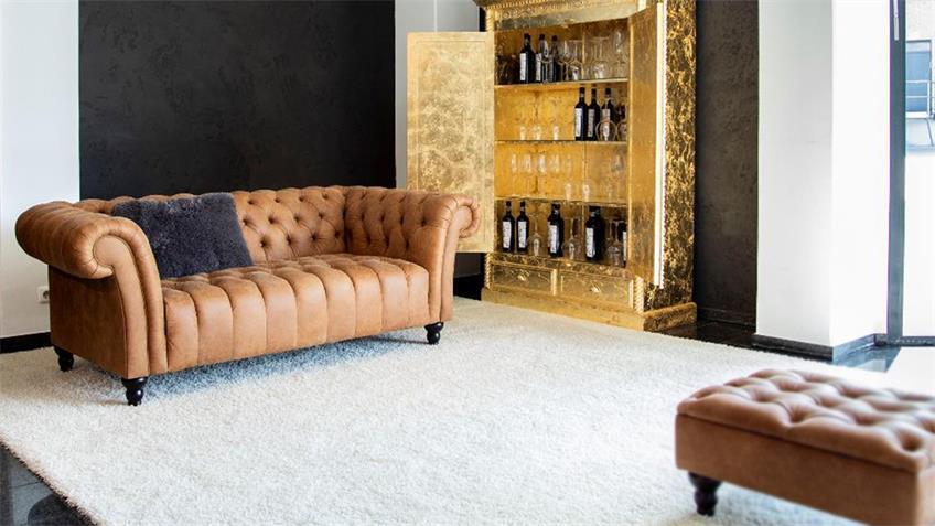 3er Sofa AMAZONAS Chesterfield in echt Leder cognac