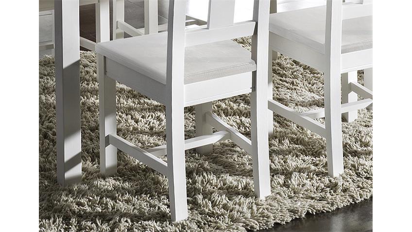 4er Set Stuhl RUDOLF Kiefer massiv Weiß gewachst