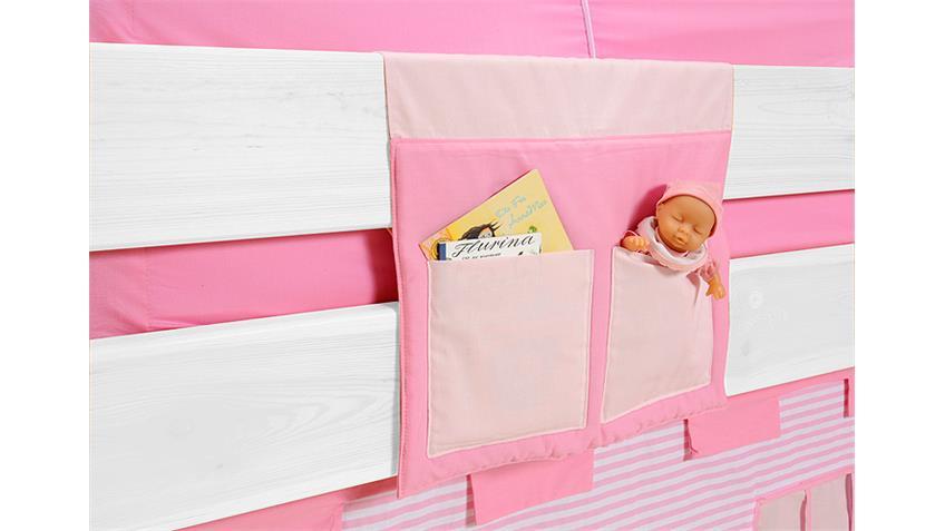 Spielbett YES WE CAN Kiefer massiv weiß lackiert mit Vorhang