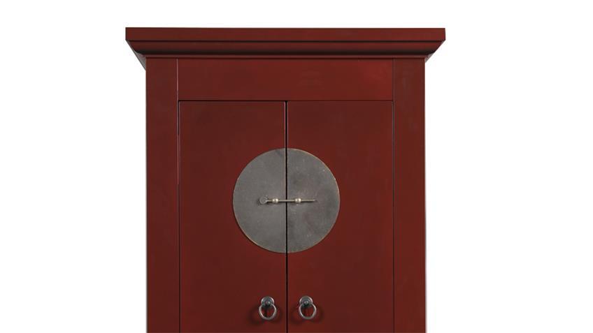 Hochzeitsschrank 60cm Asia Stil rot lackiert Metallbeschläge