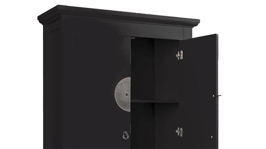 Hochzeitsschrank 90cm Asia Stil schwarz Metallbeschlag
