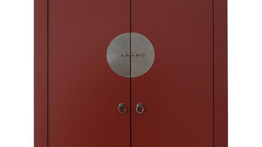 Hochzeitsschrank 100cm Asia Stil rot Metallbeschläge
