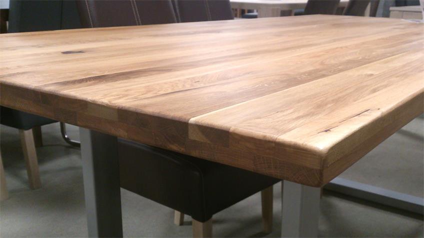 Massivholz Esstisch Teck Wildeiche geölt 200x100 cm Gestell alufarbig