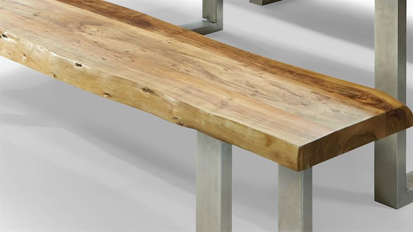 Massivholzbank MADRAS Akazie massiv 195x35 cm mit Baumkante