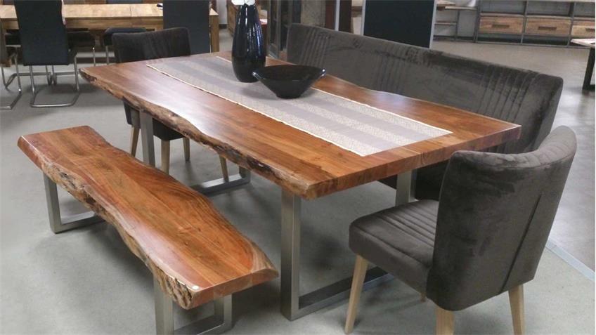 Holzbank Madras Akazie massiv 195x35 cm mit Baumkante