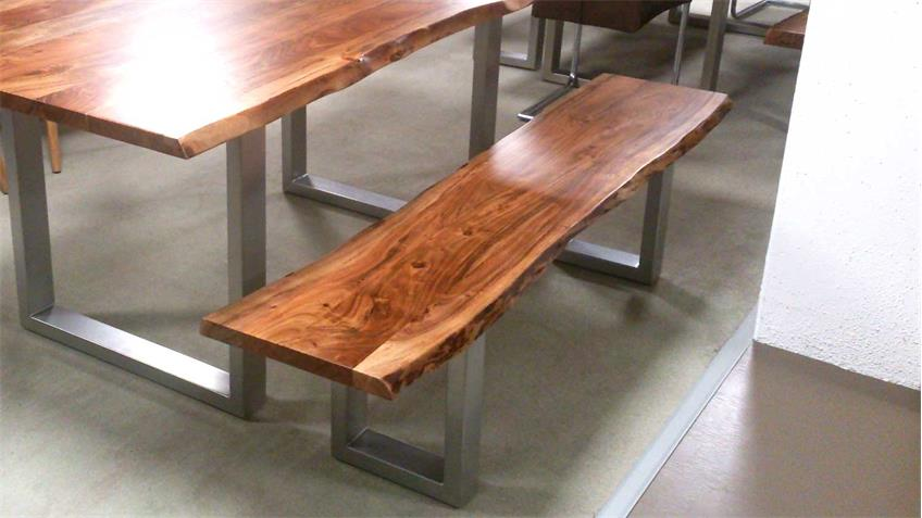 Esstisch KERALA Massivholz Akazie 180x100 cm mit Baumkante