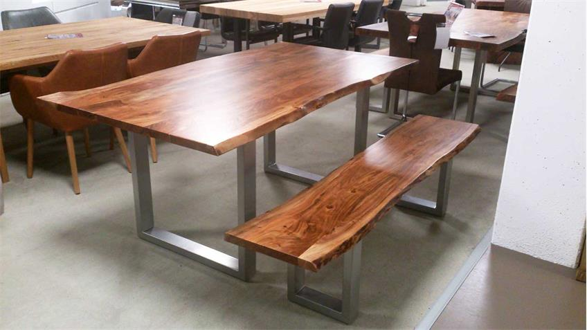 Sitzbank KERALA Massivholz Akazie 180x38 cm mit Baumkante