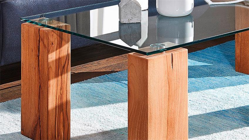 Couchtisch TI-0036 rechteckig Wildeiche massiv Glasplatte