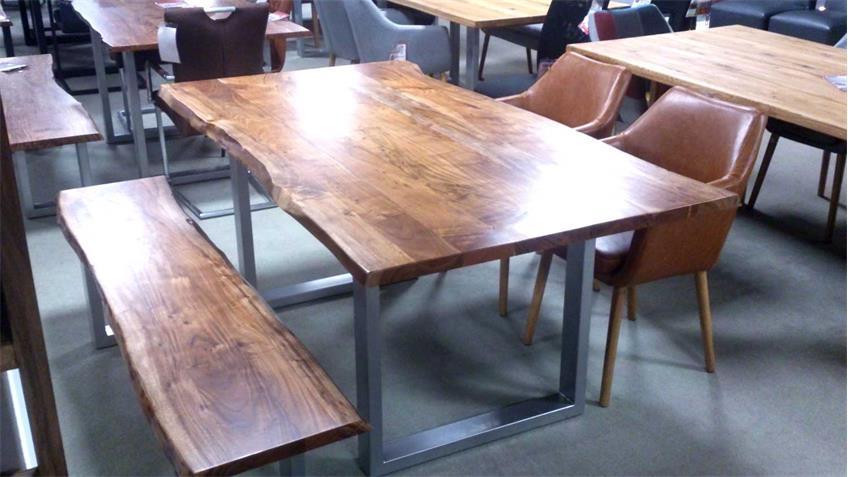Esstisch aus Akazie Massivholz Tisch mit Baumkante 220x100
