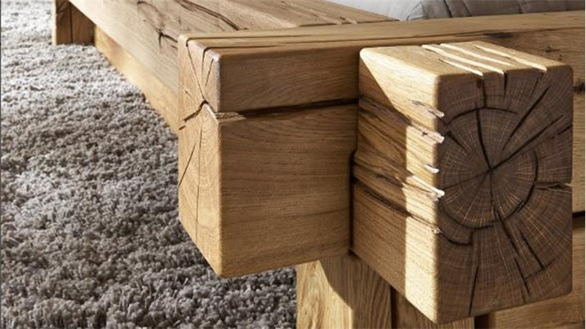 Massivholz Balkenbett Jonas Doppelbett aus Wildeiche 180x200