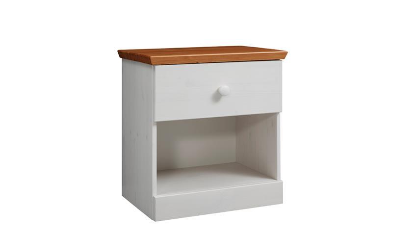 Landhausstil Schlafzimmer Genia 4 Teiliges Set Kiefer Massiv Weiß Gewachst  Honig