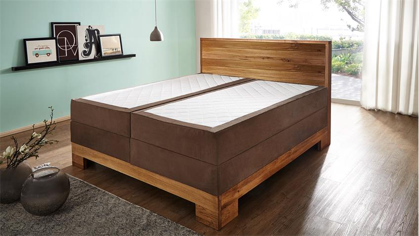 boxspringbett guana stoff braun wildeiche massiv 7 zonen tfk 180x200. Black Bedroom Furniture Sets. Home Design Ideas