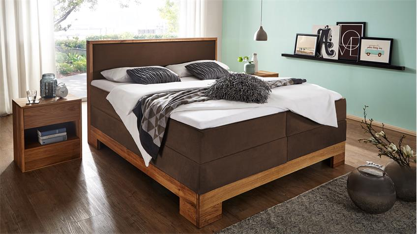 boxspringbett guana bett braun wildeiche massiv 7 zonen tfk 180x200. Black Bedroom Furniture Sets. Home Design Ideas