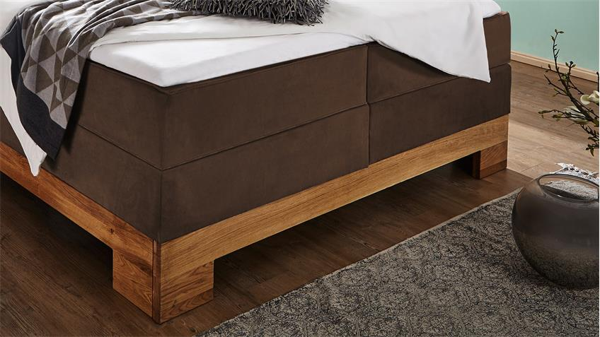 boxspringbett guana bett braun wildeiche massiv 7 zonen tfk 180x200. Black Bedroom Furniture Sets. Home Design Ideas