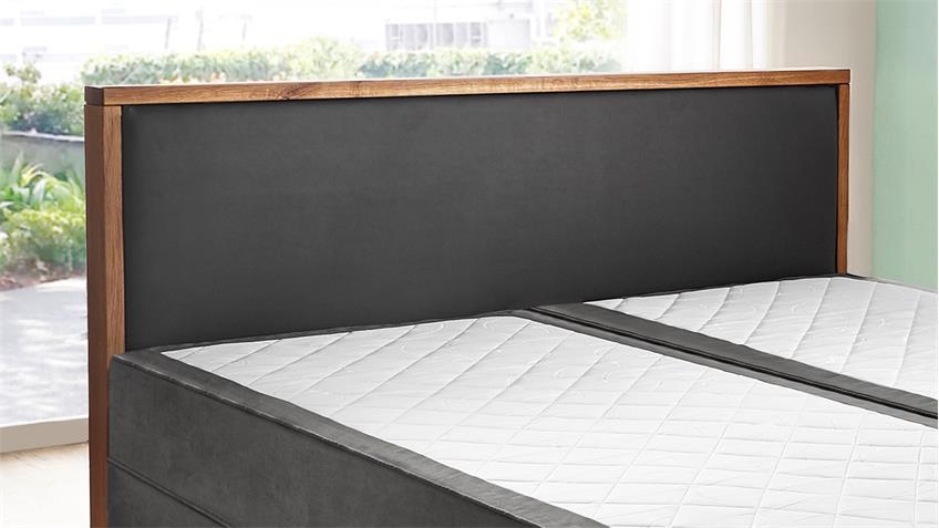 Boxspringbett 180x200 Massivholz Wildeiche Doppelbett Guana grau 7-Zonen-TFK