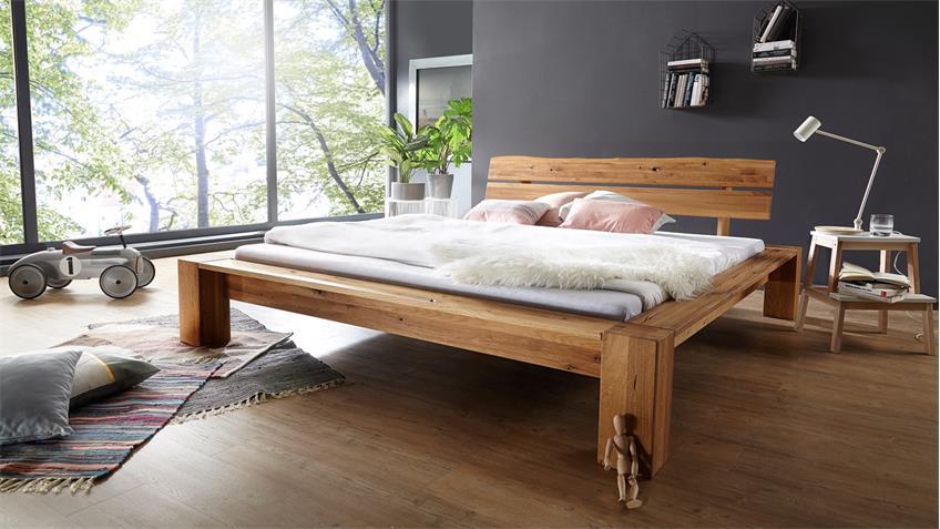 balkenbett grip doppelbett bett in wildeiche massiv ge lt 180x200 cm. Black Bedroom Furniture Sets. Home Design Ideas